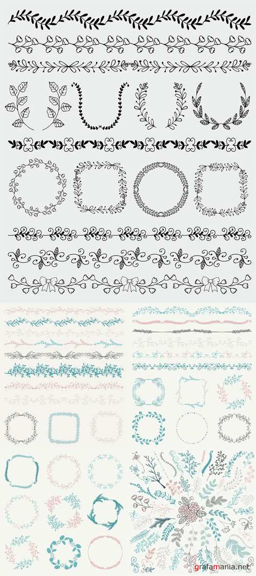 Vector Hand Sketched Seamless Borders and Frames