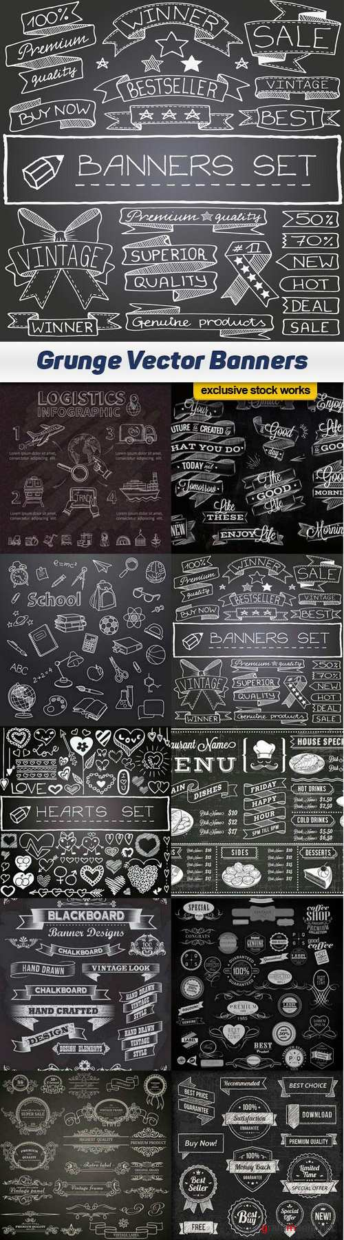 Grunge Vector Banners - 10 EPS