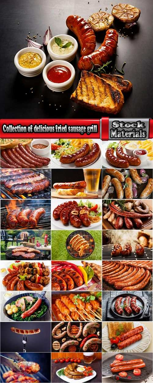 Collection of delicious fried sausage grill fire barbecue food 25 HQ Jpeg