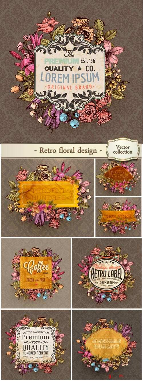 Vintage vector card, retro floral design