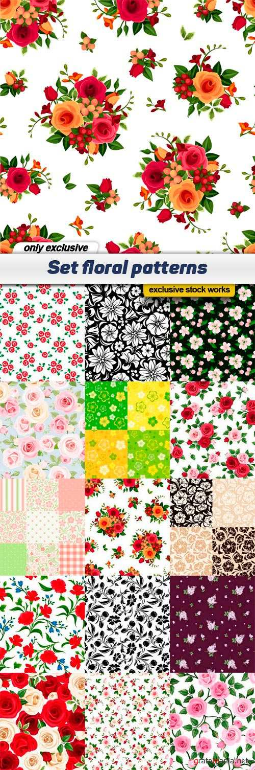 Set floral patterns - 15 EPS