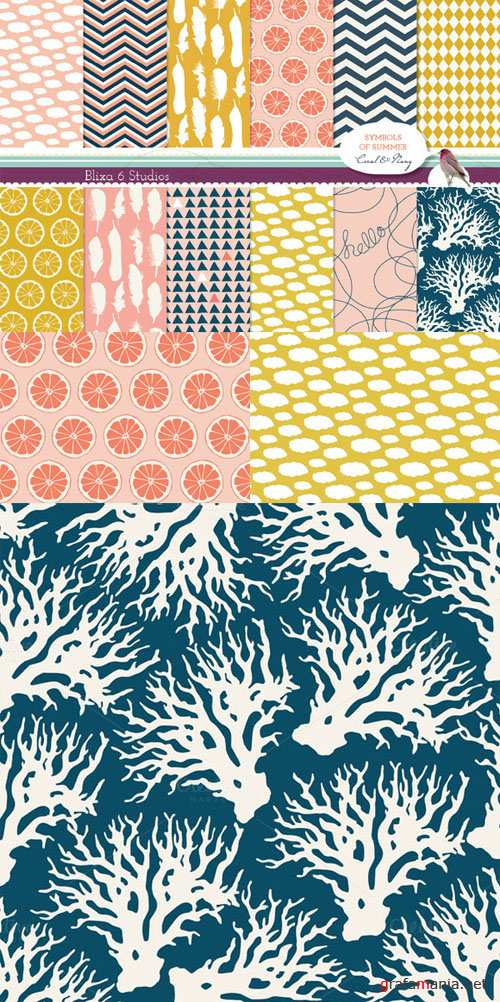 Creativemarket - Summery Lemon Digital Patterns 62596