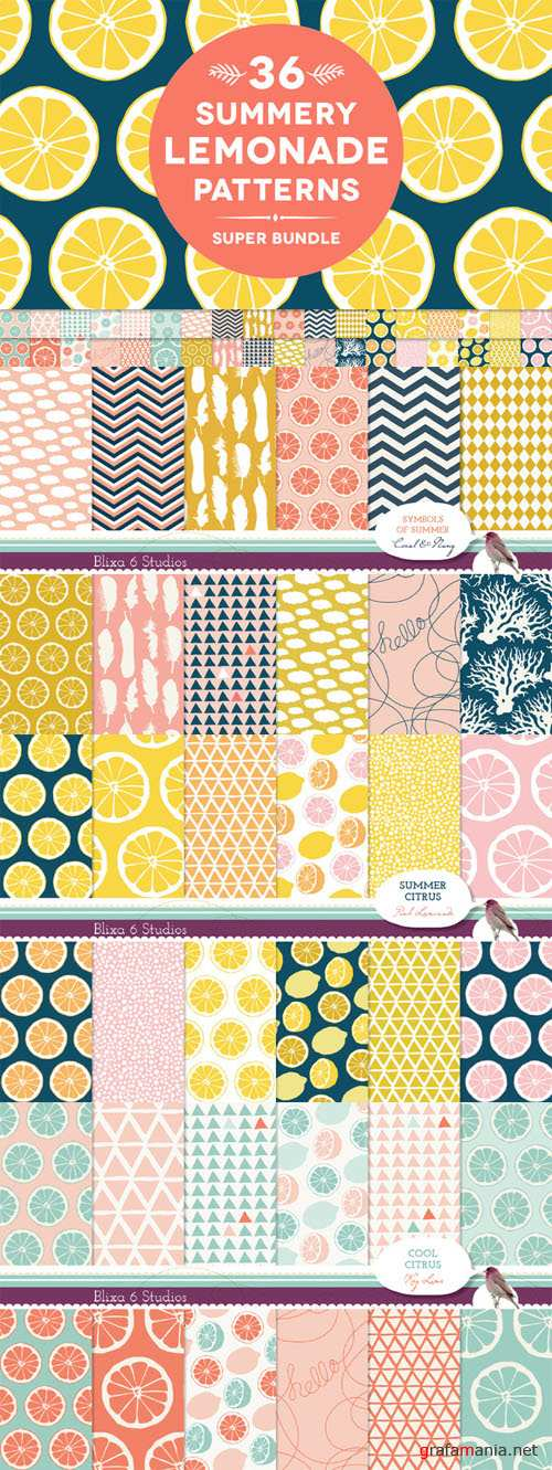 Creativemarket - 36 Summery Lemonade Patterns Bundle 65122