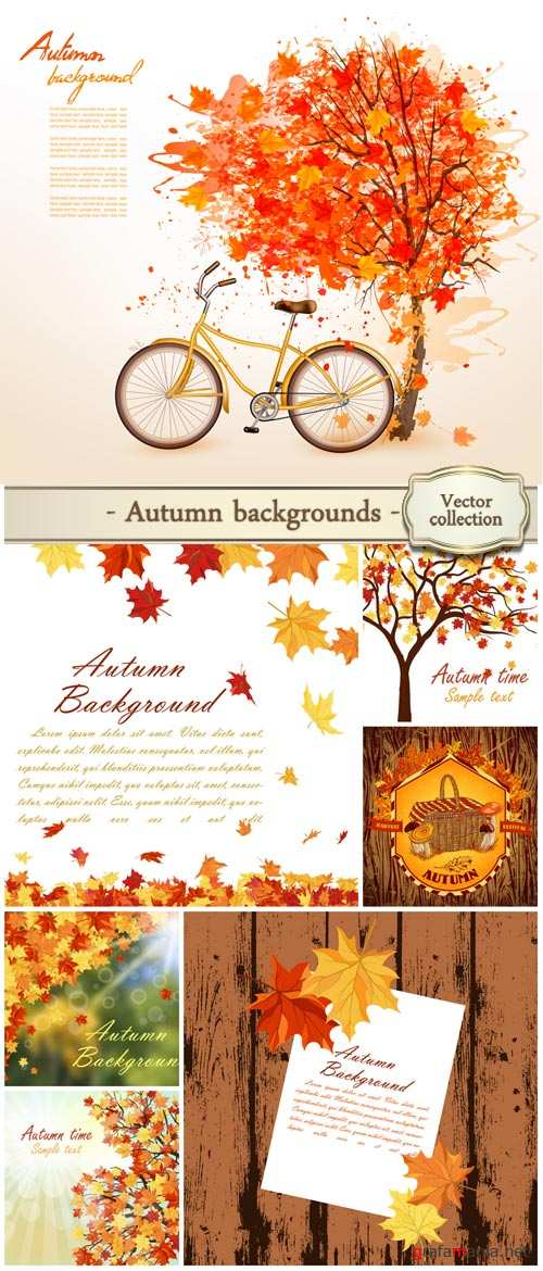 Autumn background vector, yellow leaves, trees