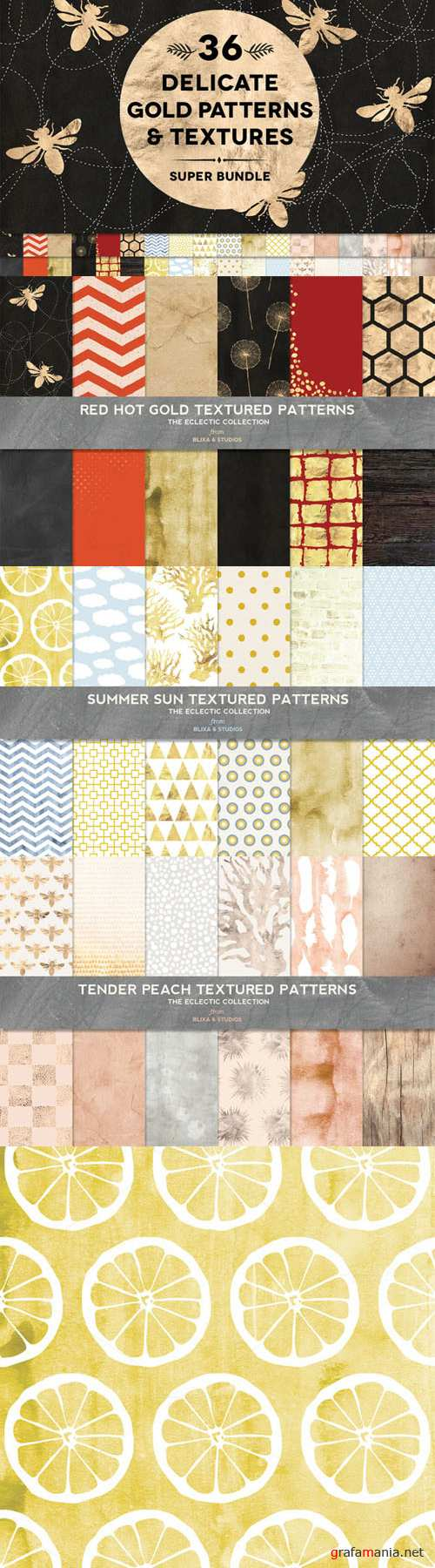 36 Delicate Gold Patterns & Textures - Creativemarket 315204