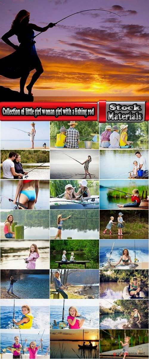 Collection of little girl woman girl with a fishing rod fishing pier river sea 25 HQ Jpeg