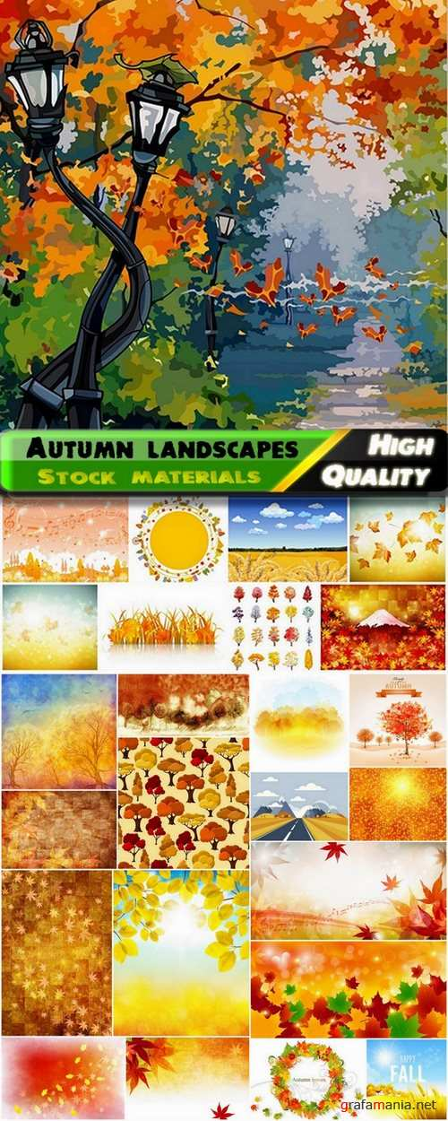 Autumn landscape with golden leaves and trees - 25 HQ Jpg