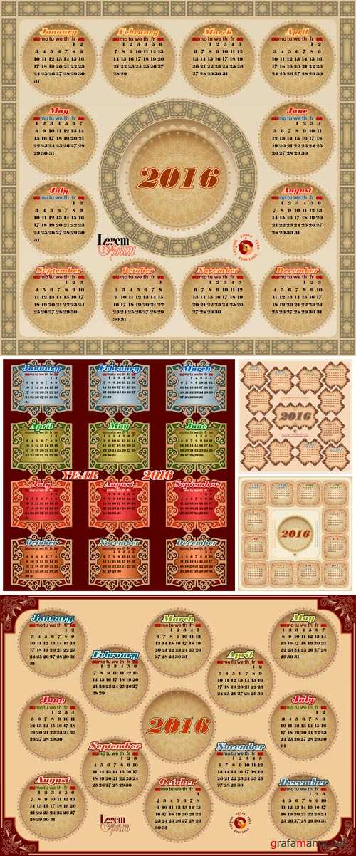 Vintage decorative Calendar 2016