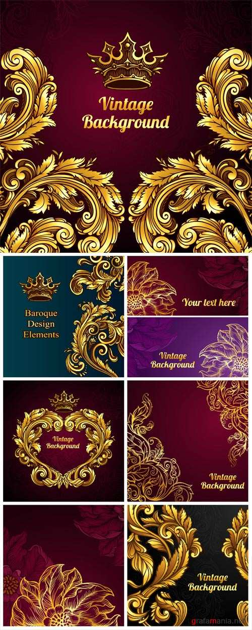 Vector gold baroque pattern