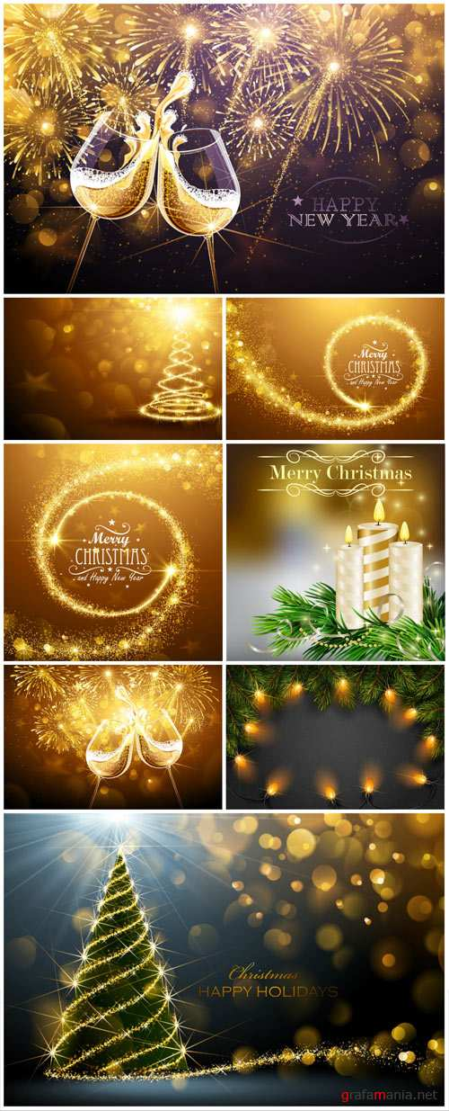 Christmas vector background, glasses of champagne, Christmas tree candles