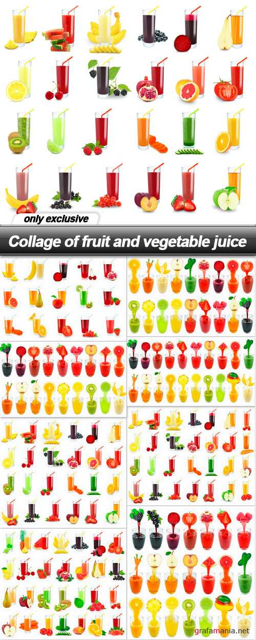 Collage of fruit and vegetable juice - 8 UHQ JPEG