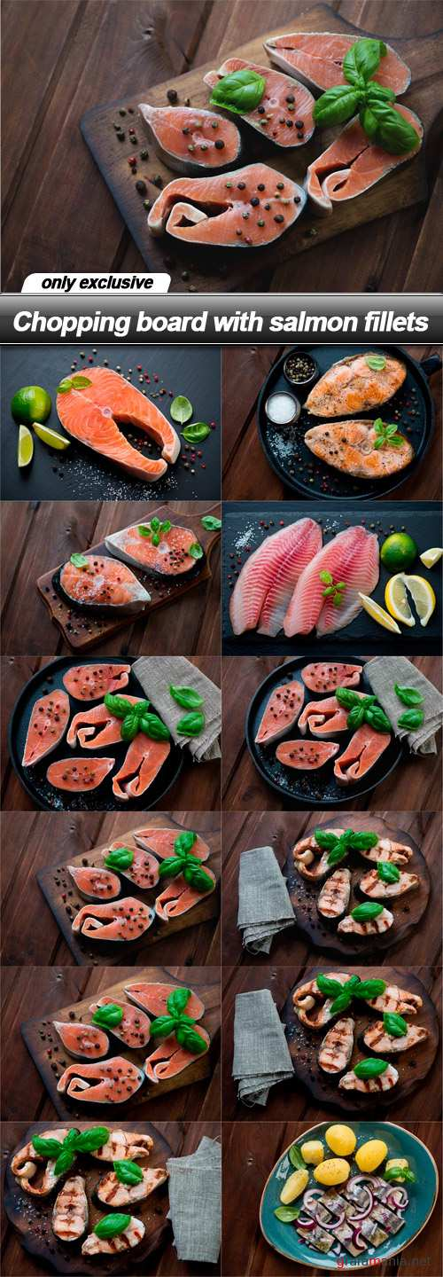 Chopping board with salmon fillets - 12 UHQ JPEG