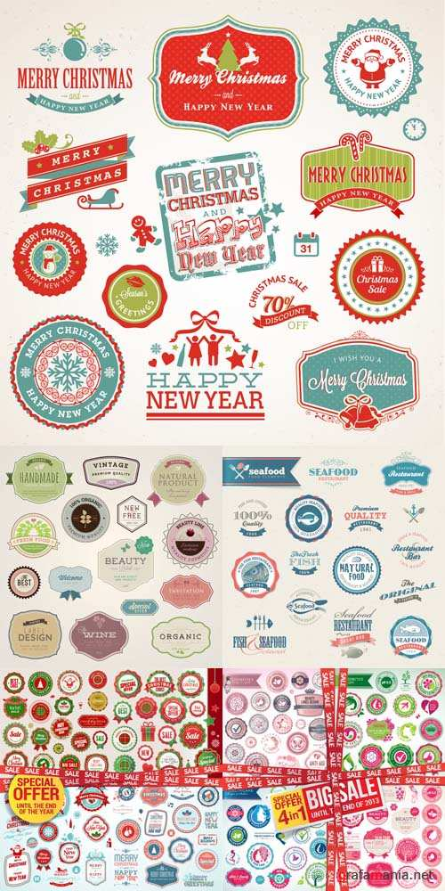 Vector Set -  Vintage Seafood and Christmas Bages