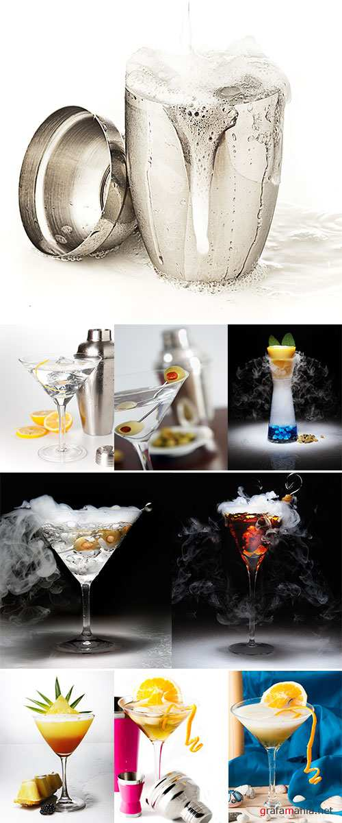 Stock Image Cocktail shaker and cocktail isolated on white