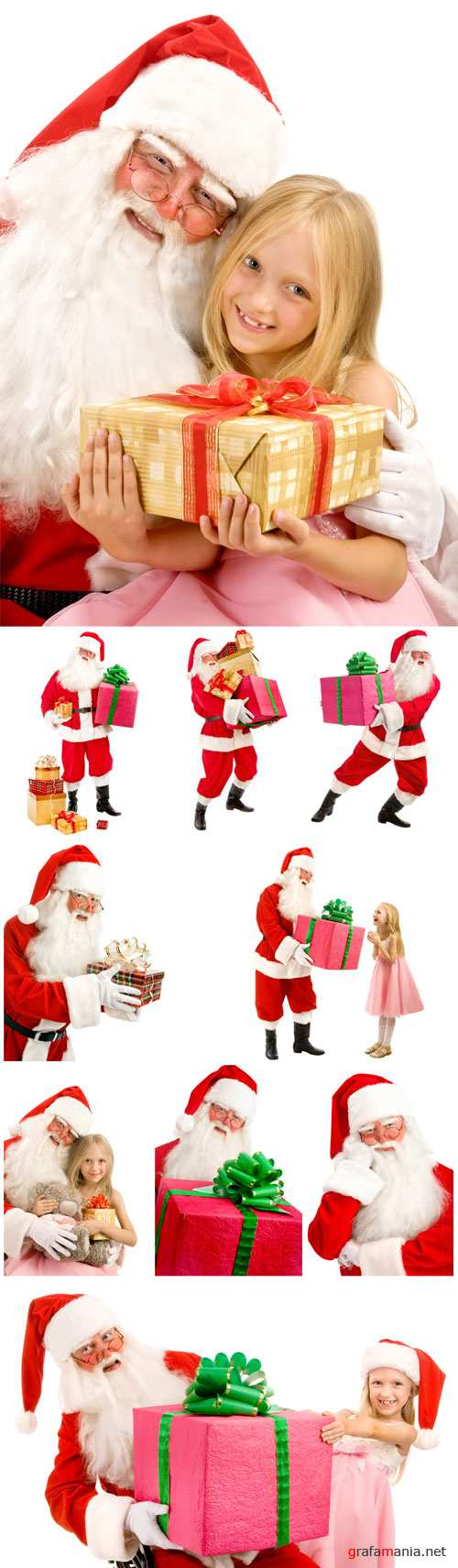 Santa Claus with a little girl, Christmas gifts - Stock photo