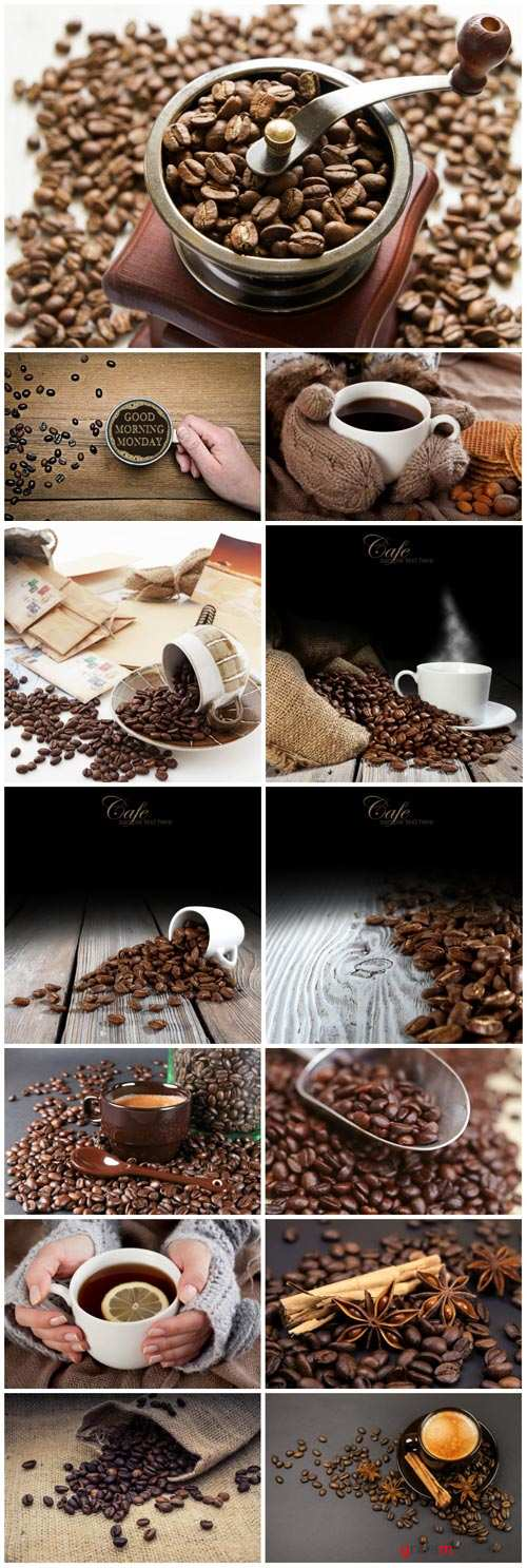 Coffee, cup of coffee, coffee beans - Stock photo