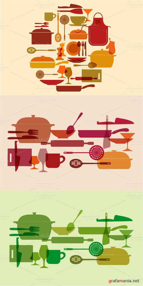 Creativemarket - Kitchenware vector set 18313