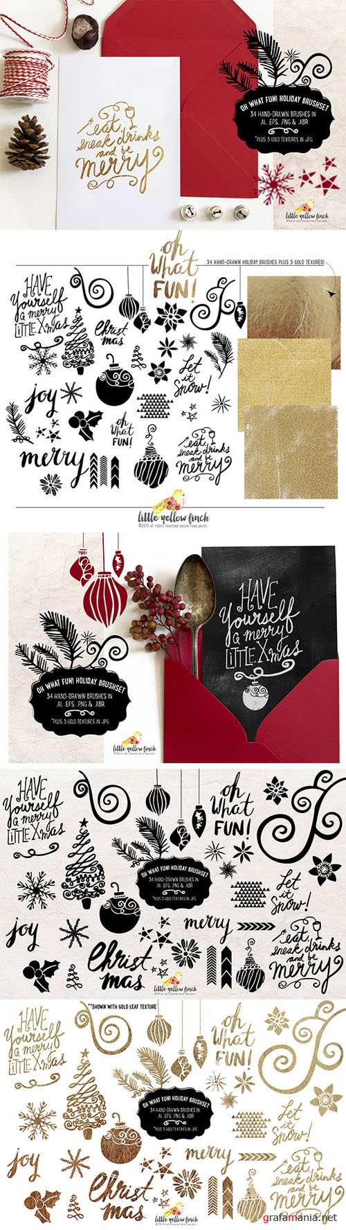 Creativemarket - Oh What Fun Holiday Brush Set 283909