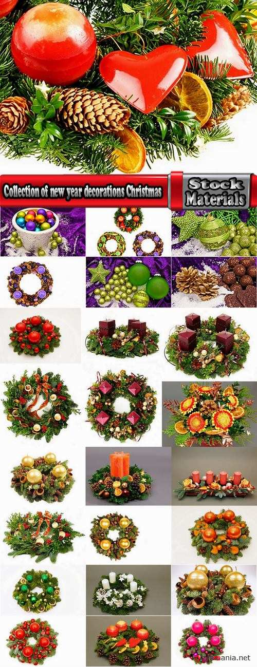 Collection of new year decorations Christmas Toy Christmas twig wreath 25 HQ Jpeg
