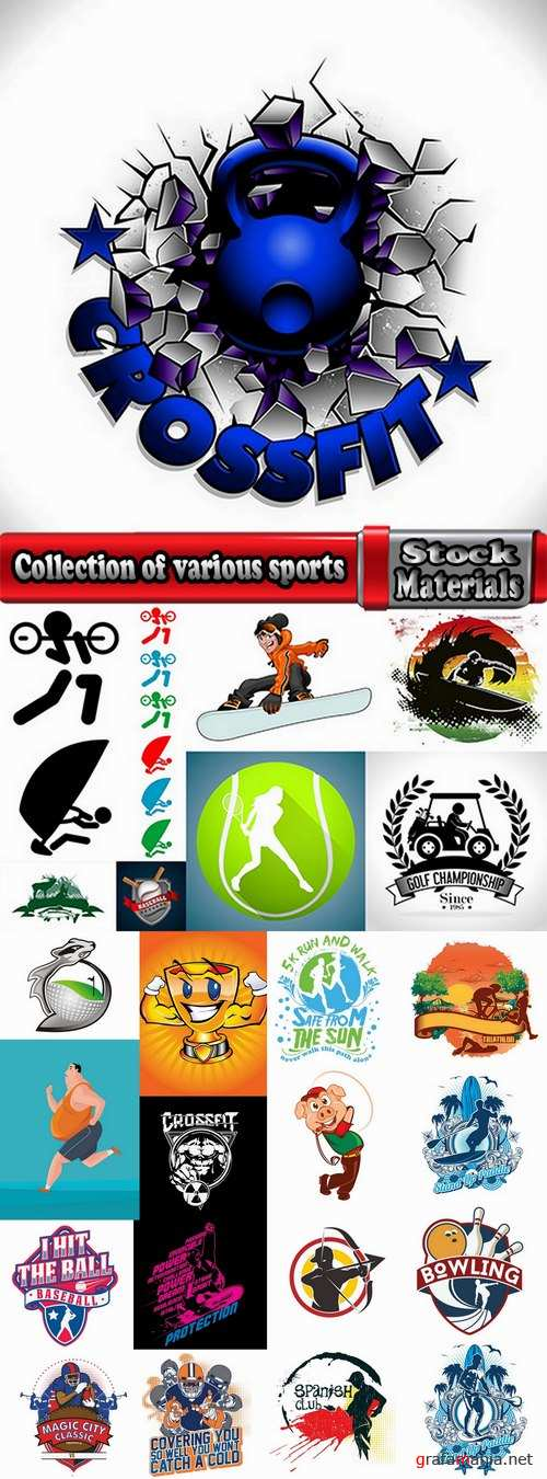 Collection of various sports extreme sports icon flyer banner poster 2-25 EPS