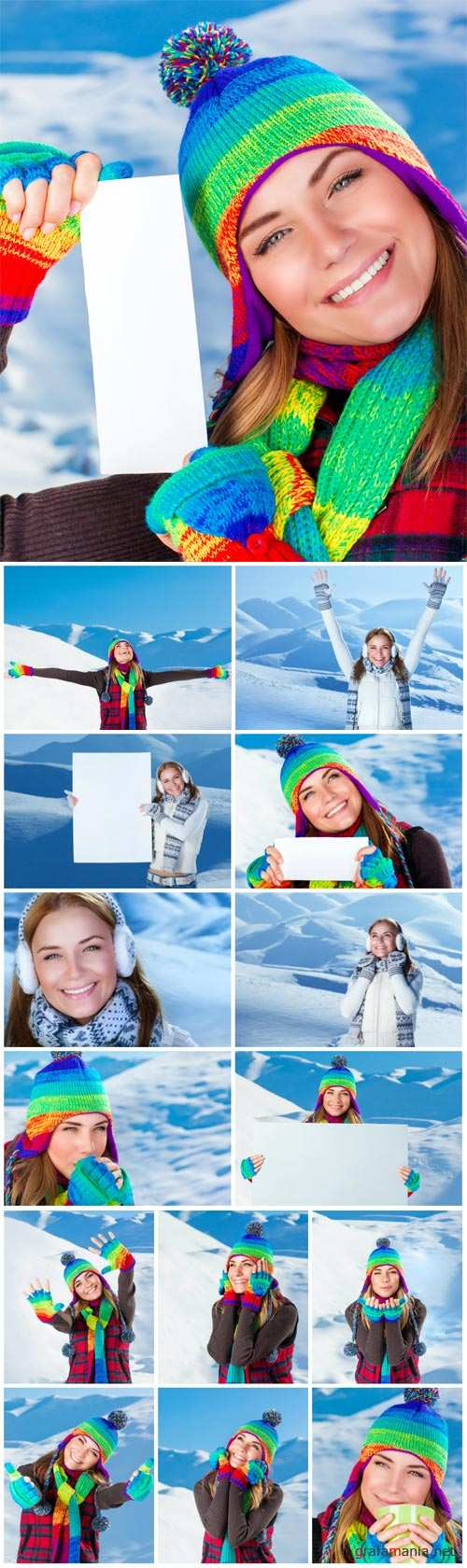 Girl enjoying snowy winter weather, christmas holidays in the mountains - Stock photo