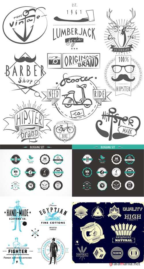 Vector Set of Retro Vintage Badges and Labels