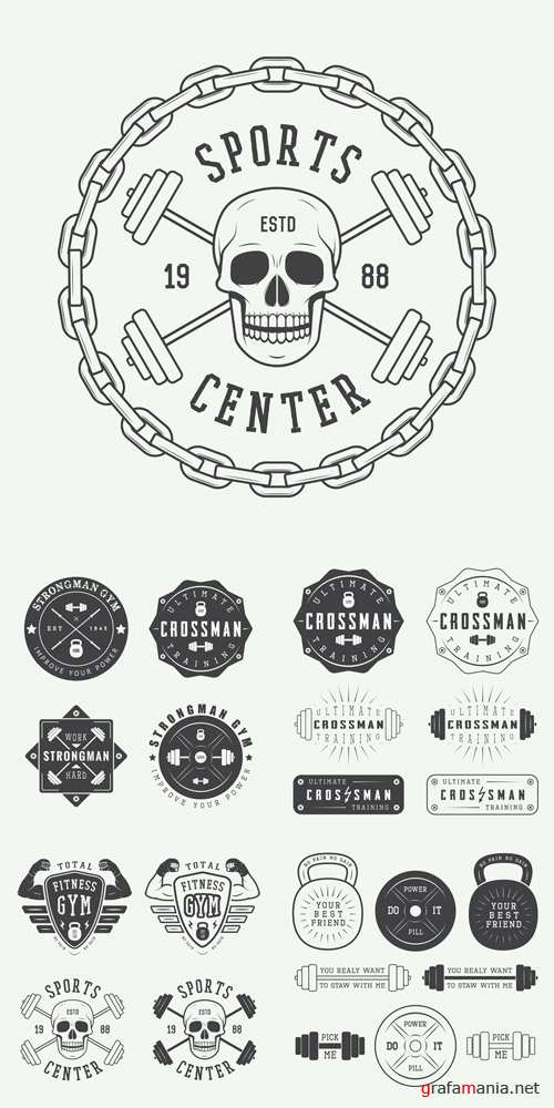 Vector Gym Logos, Labels and Badges in Vintage Style