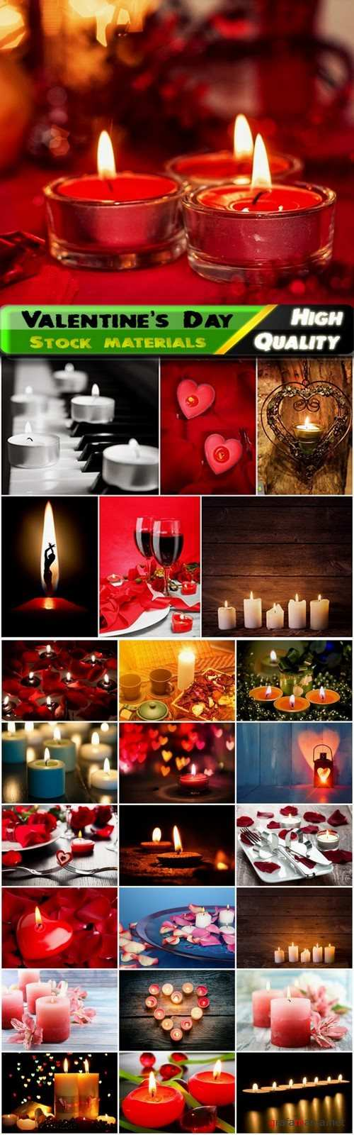 Romantic cards for Valentines Day with hearts and candles - 25 HQ Jpg
