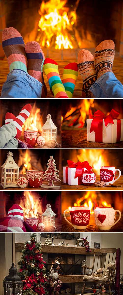 Stock Image Christmas ornament near fireplace, Winter holiday concept