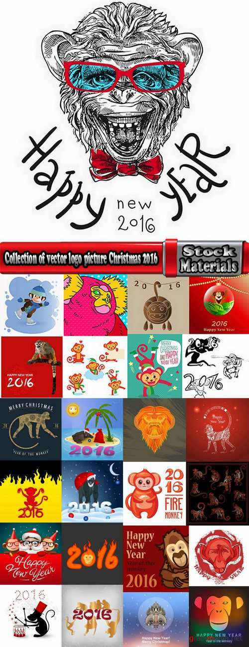 Collection of vector logo picture Christmas 2016 a background monkey flyer banner poster 25 EPS