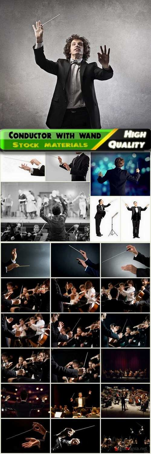 Conductor with wand and the orchestra - 25 HQ Jpg