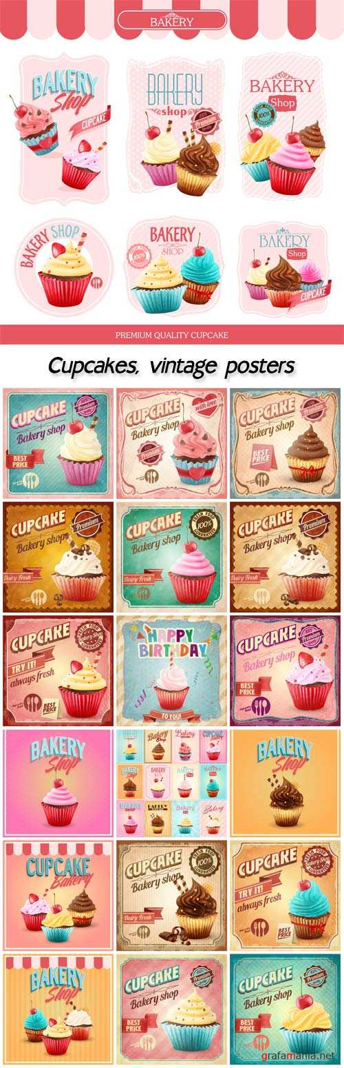 Cupcakes, vintage posters vector