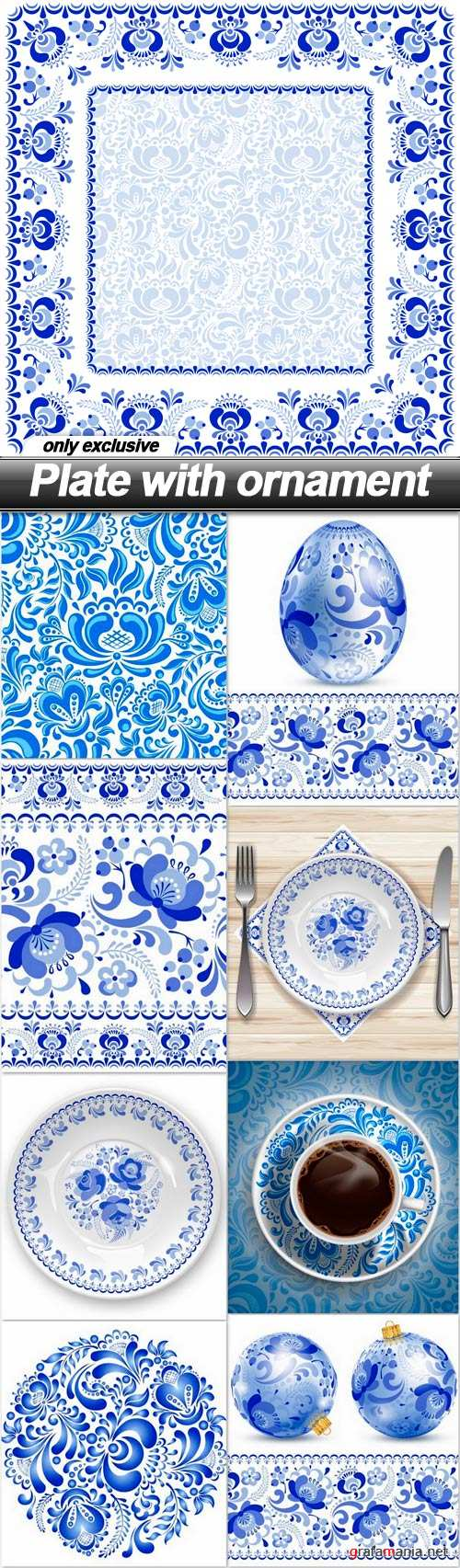 Plate with ornament - 9 EPS