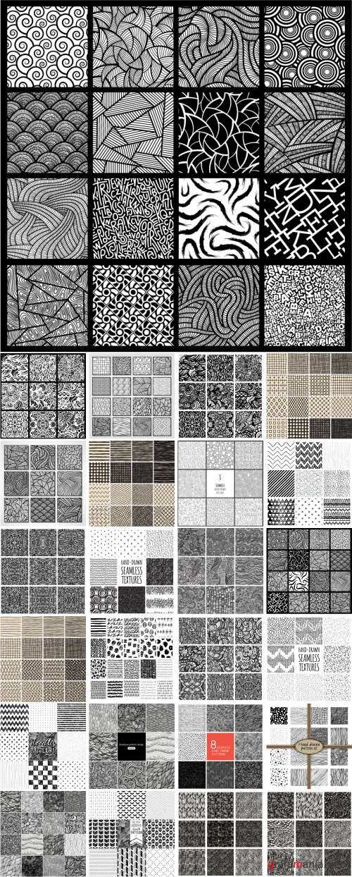 Vector Hand drawn seamless textures. Gorgeous seamless wave. Arrows doodles pattern - 25xEPS