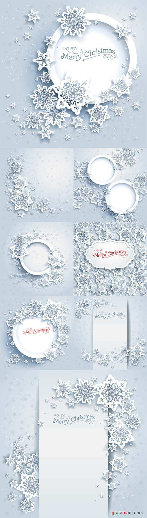 Vector Set - Christmas frame on snow background with snowflakes