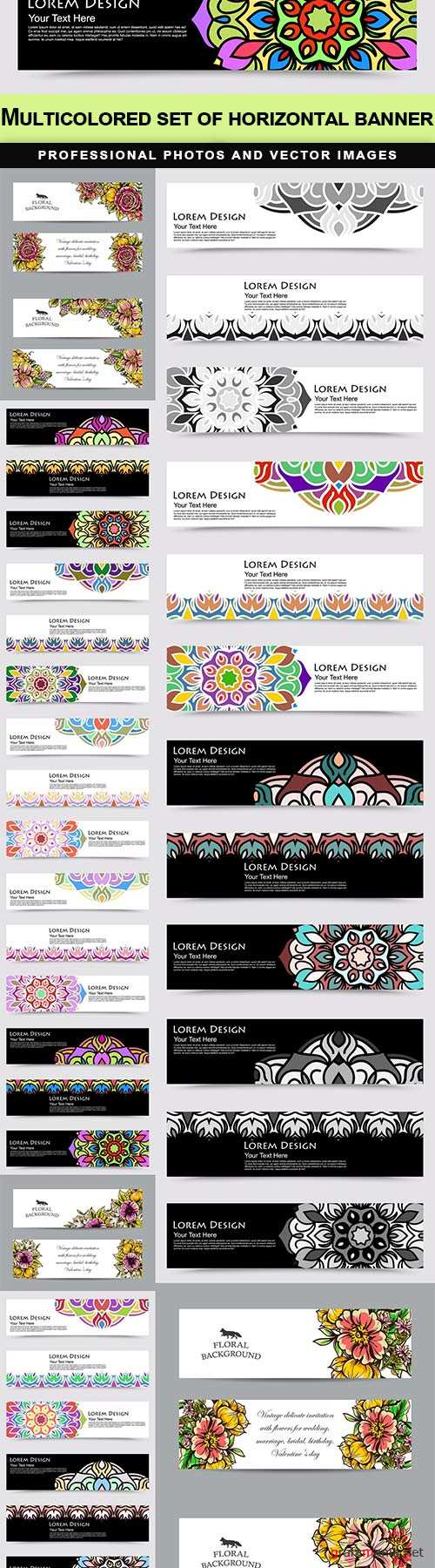 Multicolored set of horizontal banner - 19  EPS
