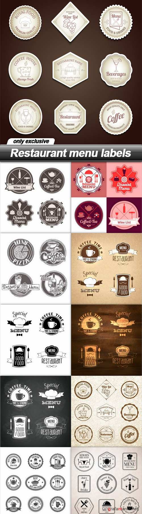 Restaurant menu labels 2 - 11 EPS