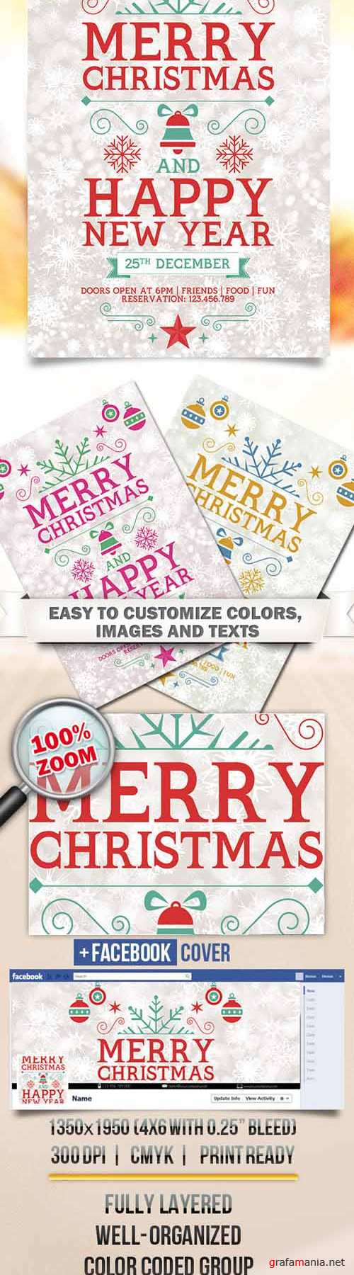 Flyer PSD Template - Merry Merry Christmas + Facebook Cover