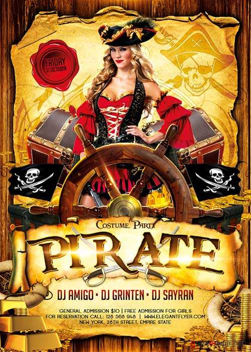 Pirate Party 2 Flyer Template + Facebook Cover
