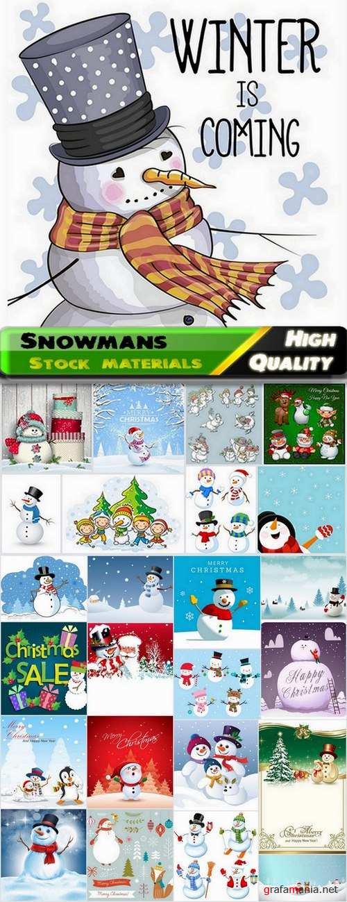 Snowmans for Marry Christmas ecards decoration - 25 Eps
