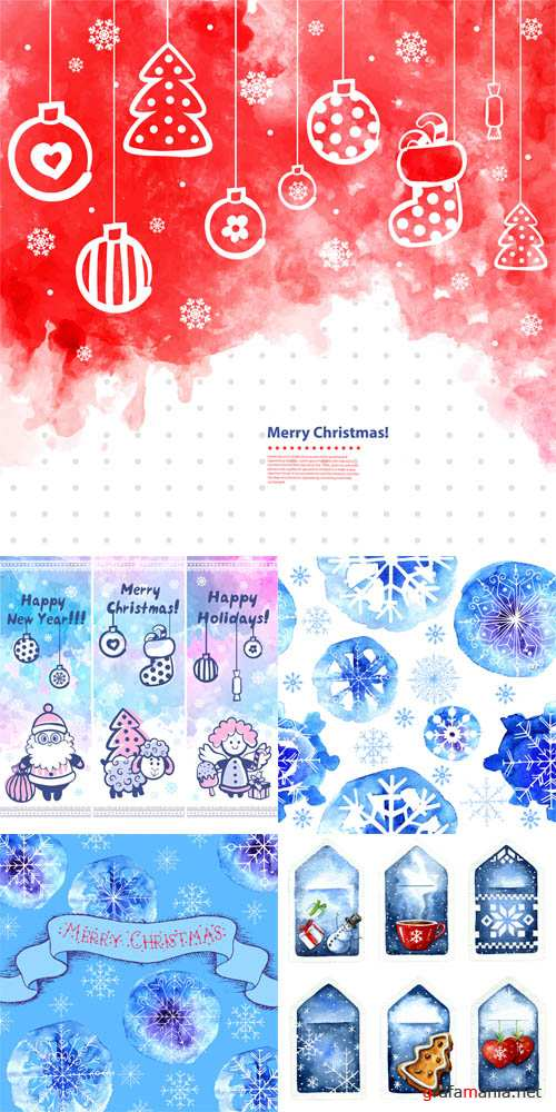 Vector Watercolor Christmas vector set of banners, tags, patterns