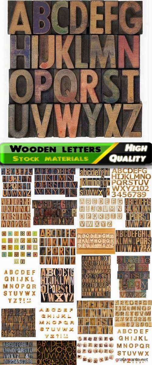 3D render of wooden letters and fonts of alphabet - 25 HQ Jpg