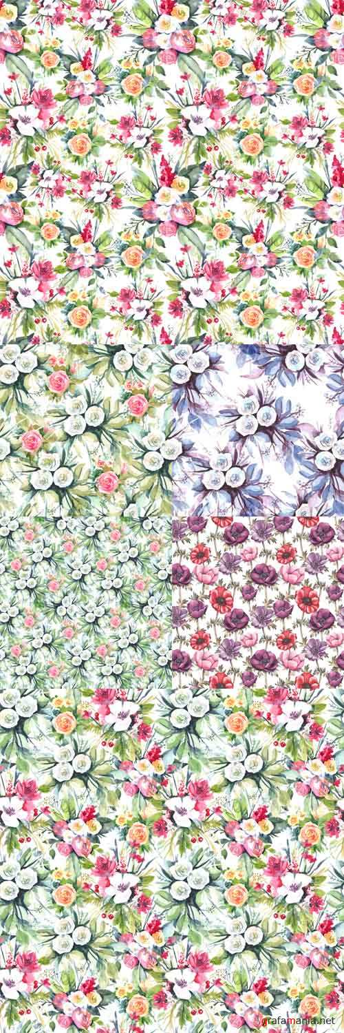 Vector Set - 6 Watercolor seamless patterns with flowers