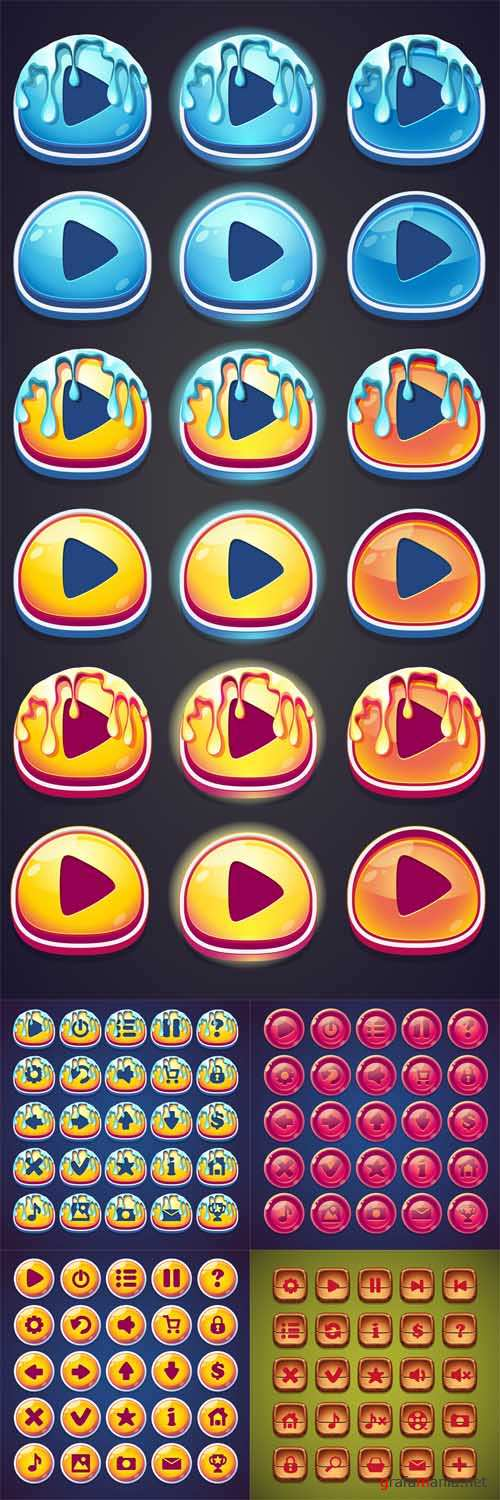 Vector Set of Wooden Cartoon Buttons for Computer Games and Web Design
