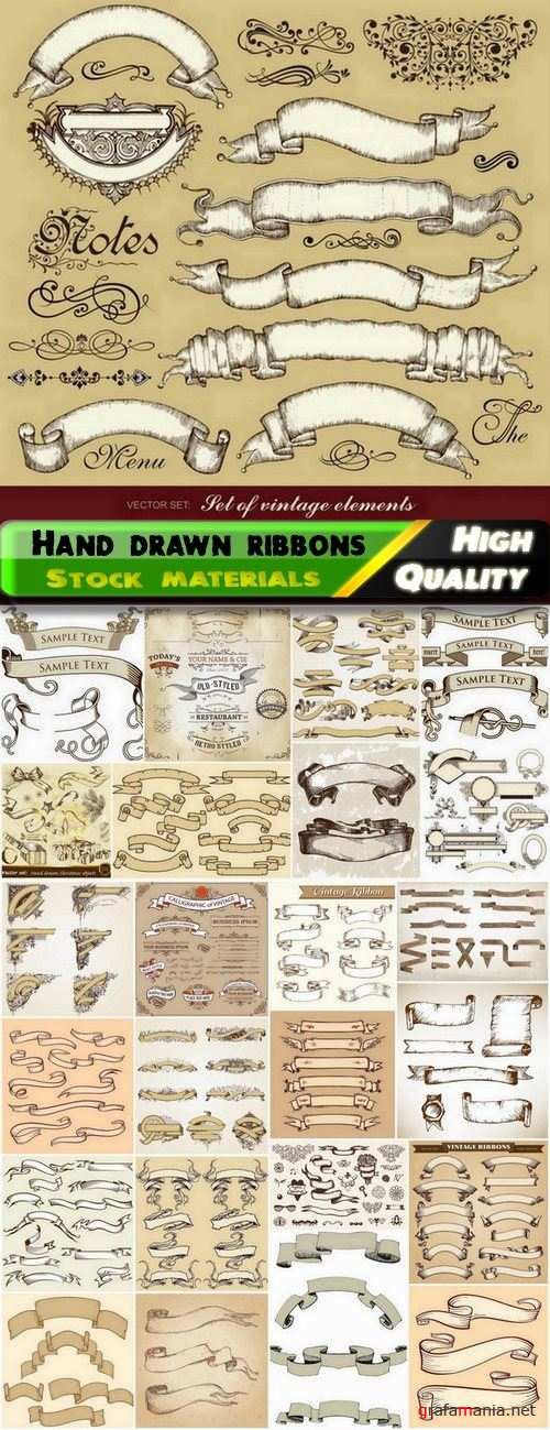 Hand drawn ribbons and banners - 25 Eps