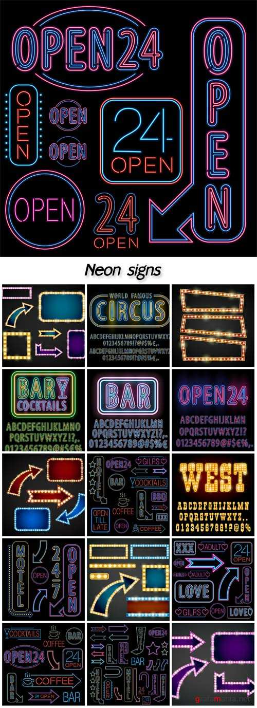 Neon signs, luminous signs vector