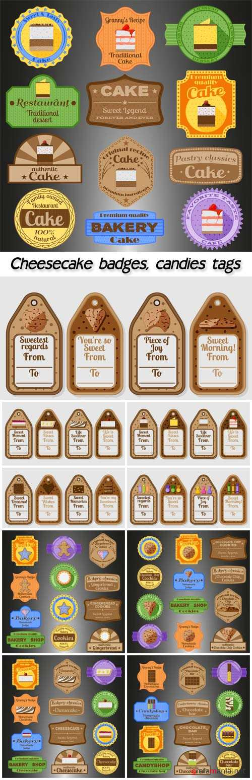Cheesecake badges, candies tags
