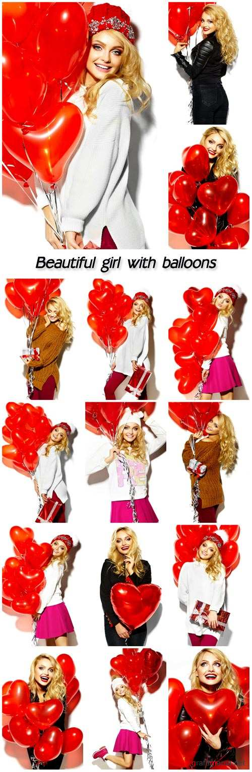 Beautiful girl with balloons in the form of hearts, Valentine's Day
