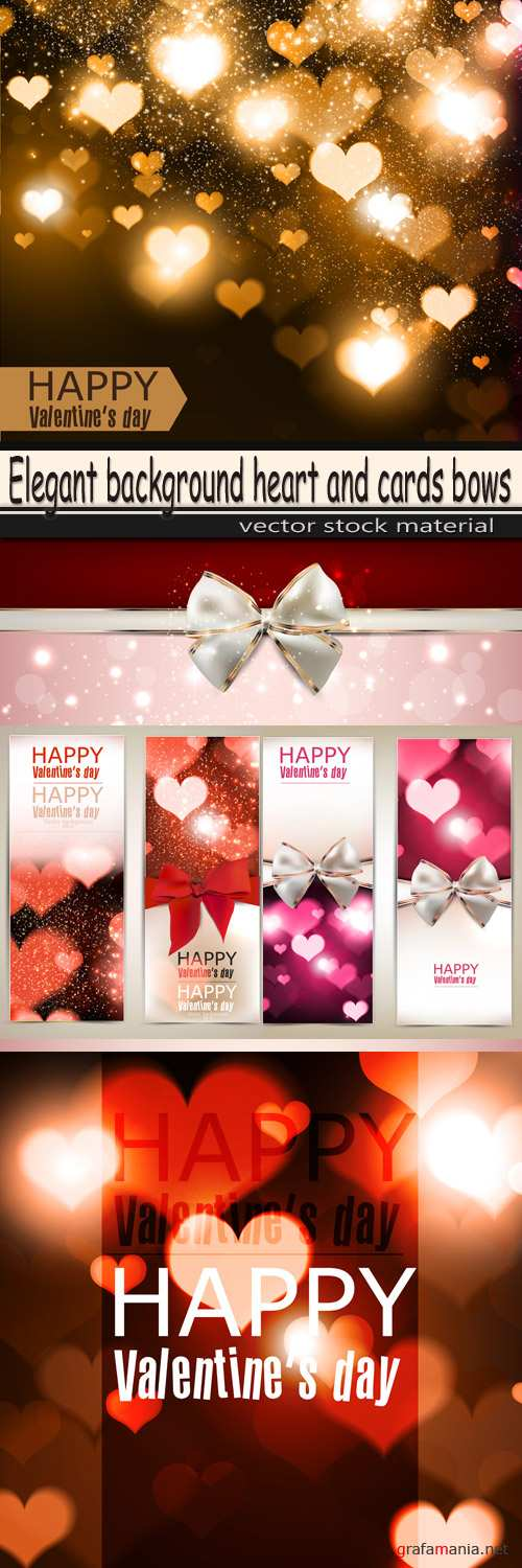 Elegant background heart and cards bows