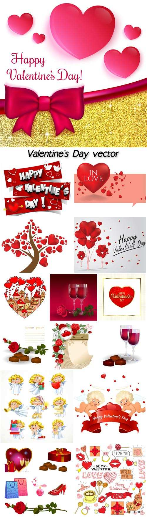 Valentine's Day vector, flowers, hearts, cupids